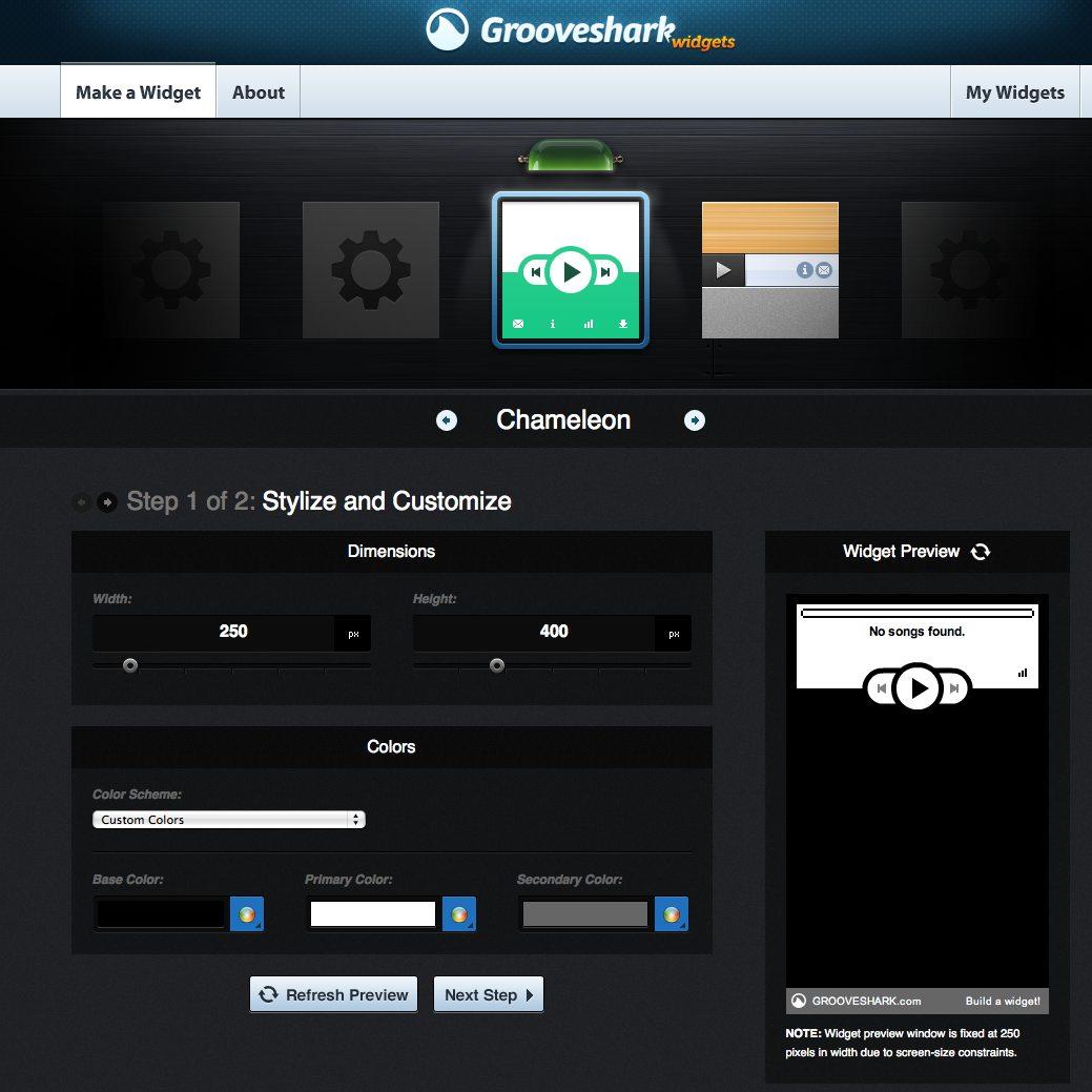 Grooveshark Widget Page